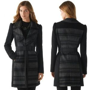 WHBM | Striped Wool Ruffle Front Belted Coat